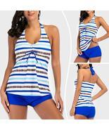 New Plus Size Women Tankini Set Swim Top+Shorts Halterneck Swimsuit Push... - $26.23+
