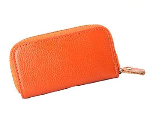 Multifunctional Key Bag Printing High Capacity Straight Zipper Key Case, Orange
