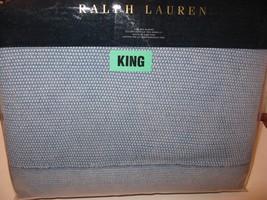 Ralph Lauren INDIGO MONTAUK Seed Stitch Knit Full Queen Blanket - $161.45