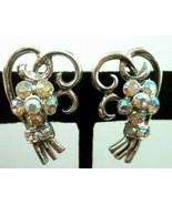 Vintage AB Rhinestone Flower 1.25 inch Screw Earrings - $9.89