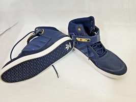 Adidas Mens 2012 navy Leather Trainers Hi-Tops Shoes 13 laces & velcro w... - $74.25