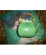 POTTERY BARN Adorable Jade Green Asian Bamboo Handle Tea Pot - $24.75