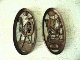 Burwood 1965 Spinning Wheel & Rocking Chair Plastic Wall Plaque Decor f... - $39.59