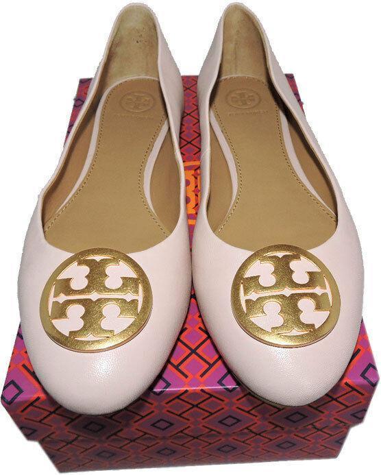 Tory Burch BENTON Reva Ballerina Flats Gold Logo Ballet Shoe 7.5 Pink Leather