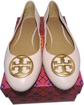 Tory Burch BENTON Reva Ballerina Flats Gold Logo Ballet Shoe 7.5 Pink Le... - $159.00
