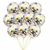 MeySimon 40th Birthday Decorations Clear Balloons with Gold Confetti Fil... - $11.42