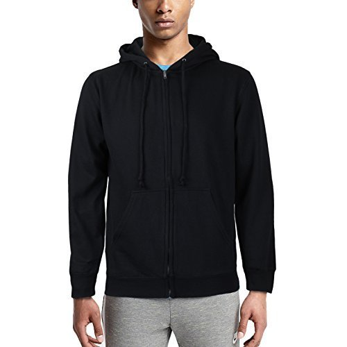Men's Cotton Blend Fleece Lined Sport Gym Zip Up Sweater Hoodie (Small)