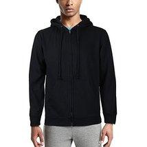 Men's Cotton Blend Fleece Lined Sport Gym Zip Up Sweater Hoodie (Small)