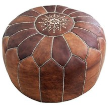 Genuine Luxury Moroccan Leather Pouf Pouffe Handmade Ottoman Unique Tan Color - $78.21