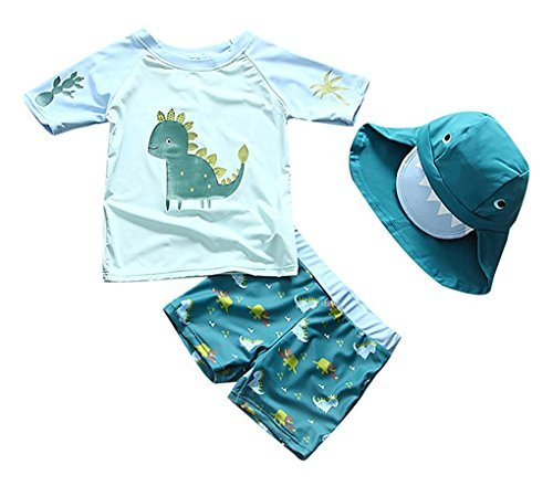 Baby Toddler Boys Two Pieces Swimsuit Set Boys Dinosaur Bathing Suit Rash Guards