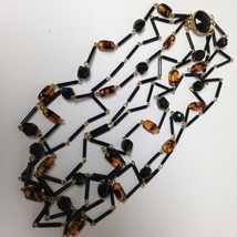 Vintage, Elegant, 4 Strands of Black and Brown Murano Glass Beads Neckla... - $33.20