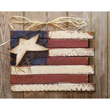 Patriotic HANGING LATH FLAG Country Farmhouse Wall Sign Americana Primitive - $39.99