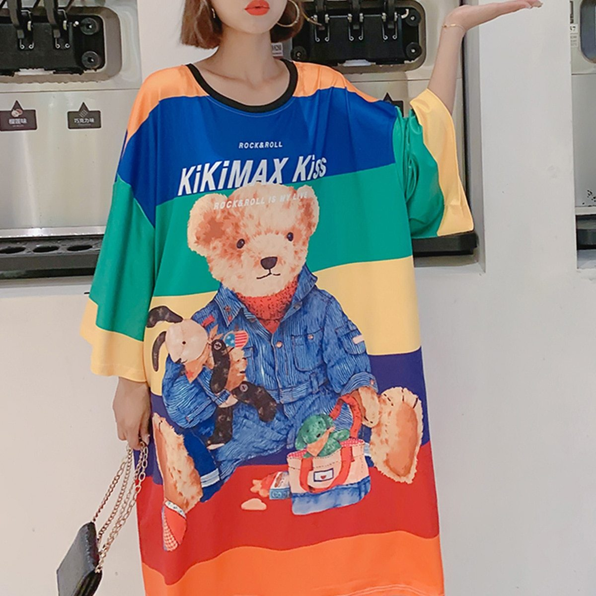 Maternity Dress Cartoon Lovely Bear Pattern O Neck Loose Comfy Dress image 3