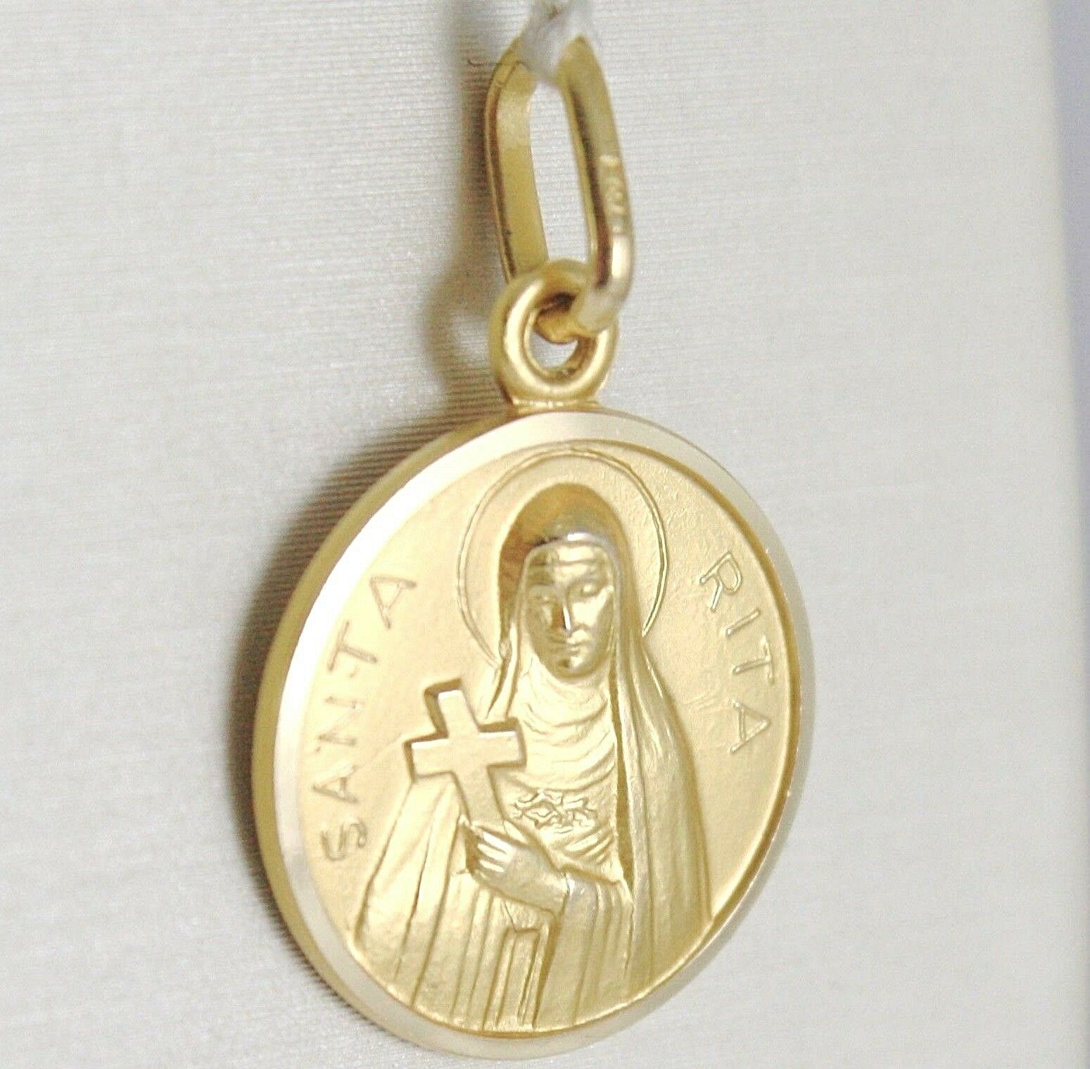 SOLID 18K YELLOW GOLD HOLY ST SAINT SANTA RITA ROUND MEDAL MADE IN ITALY, 13 MM