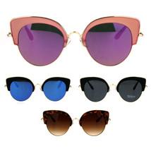 Womens Retro Designer Fashion Half Rim Cat Eye Mod Sunglasses - $12.95