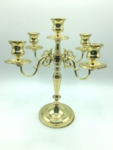 "Vintage Baldwin 11"" Solid Polished Brass 4 Arm 5 Candle Candelabra Holder USA image 2"