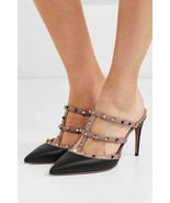 Valentino Garavani Rockstud Pointy Toe Black - Nude Leather Pumps Mules ... - $459.00