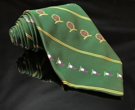 Tommy Hilfiger 100% Silk Neck Tie red green blue royal Flags American lu... - $15.14