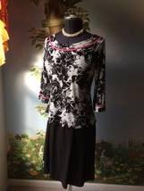 Metro 22 Dress Women 3/4 Sleeve Back & White Tiered Dress Size 10 - $33.66