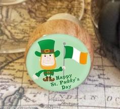 Wine Stopper, Leprechaun Handmade Wood Bottle Stopper, St. Patrick's Day - $8.86