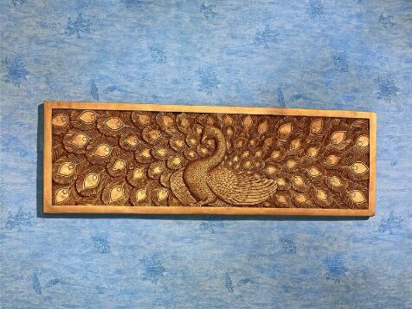 PEACOCK FRIEZE SCULPTURE Unique Bronze Colored Bird Art Mom Wife Hostess Gift