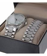 Men Hip Hop Iced Out White GP Rapper;s Lab Diamond Watch & Bracelet Comb... - $58.79