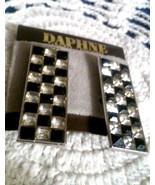 Vintage Daphne De La Grandiere Black Clear Rectangle Long Clip On Earrings - $4.75