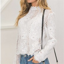 hirigin women Back white Lace hollow long sleeve blouse turtleneck Top Summer Bl - $40.00