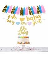 Gender Reveal Party Decorations Tassels Garland Cake Topper Gold Glitter... - $9.50