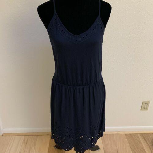 LOFT Women's Dress Size S Navy Spaghetti Strap Eyelet Hem NWT