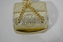 Tory Burch Leather Fleming Metallic Mini Key Fob / Bag Charm in Spark Gold/Black image 11