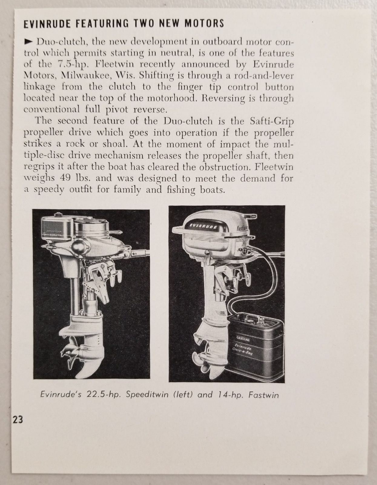 Primary image for 1950 Magazine Photo Evinrude Speeditwin 22.5 HP & Fastwin 14 HP Outboard Motors