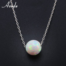 White Fire Opal Necklace Pendants Women Sterling Silver Elegant Natural ... - $18.16
