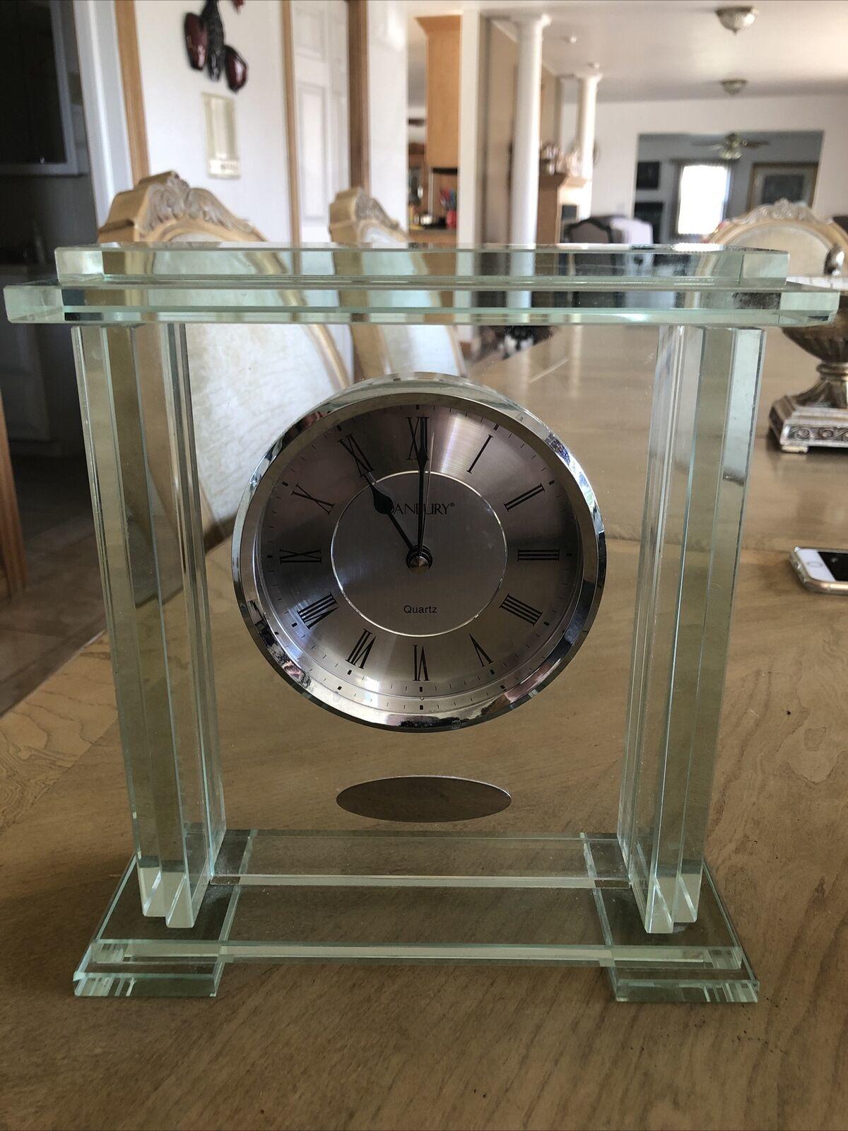 "DANBURY Glass Clock Things Remembered Mantle Shelf Desk Quartz 10"" T x 9.5"" W - $46.98"