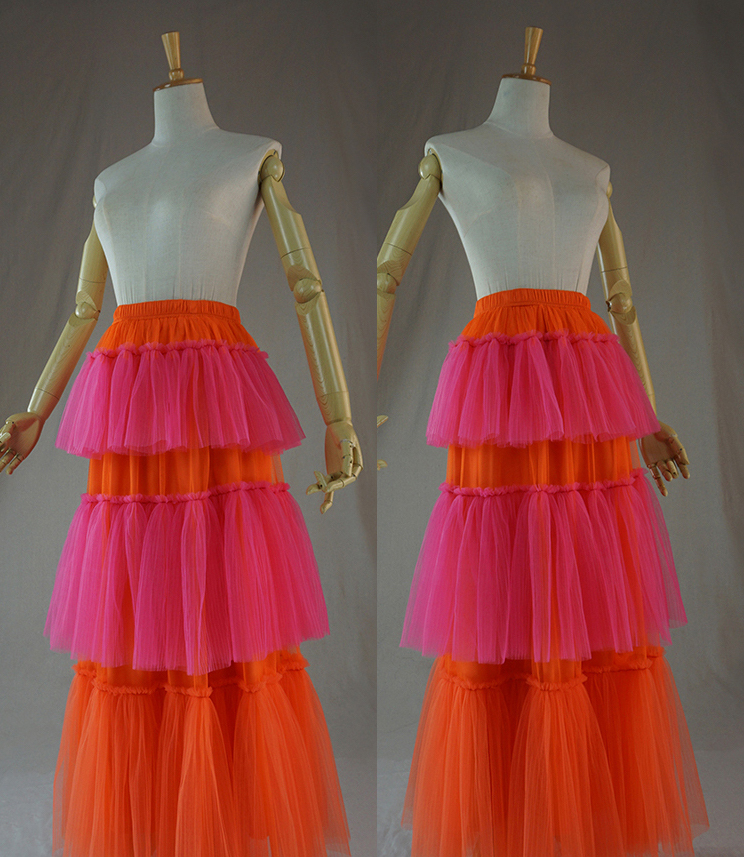 Red orange tulle skirt 7