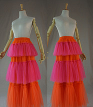Womens Tiered Party Tulle Skirt Orange Pink Layered Mesh Tulle Party Pro... - $79.99