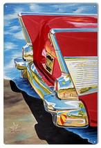 Rear End Chevy Bel Air Sign By Artist Donna Wayman-Mauer 12x18 - $25.74