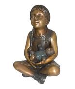 "Sitting Girl with Bear Bronze Statue - Size: 13""L x 12""W x 15""Hss. - $780.00"