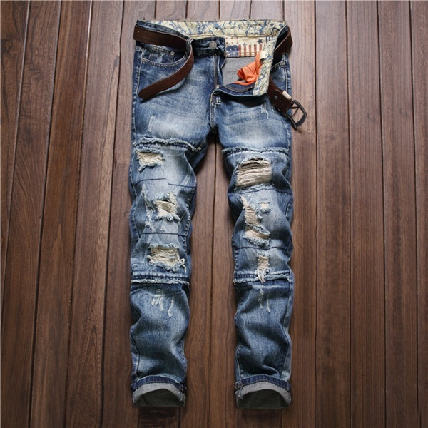 Men's Fashion Restoring Ancient Ways New Hole In Straight Jeans