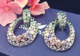 Authentic Swan Signed Swarovski Rarely Multi Clip On Earrings 1126583 Rare - $149.00