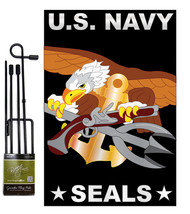 U.S. Navy Seal - Applique Decorative Metal Garden Pole Flag Set GS108051-P2 - $33.97