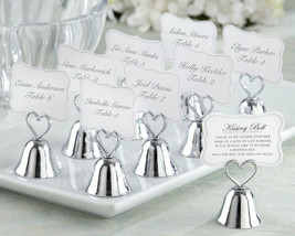 120 Silver Kissing Bell Wedding Place Card Photo Holder Table Decor Hear... - $181.40