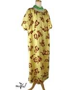 Vintage Hawaiian Cotton Print Dress - Fruit, Guitars,Tropical Flowers - XXL - $50.21 CAD