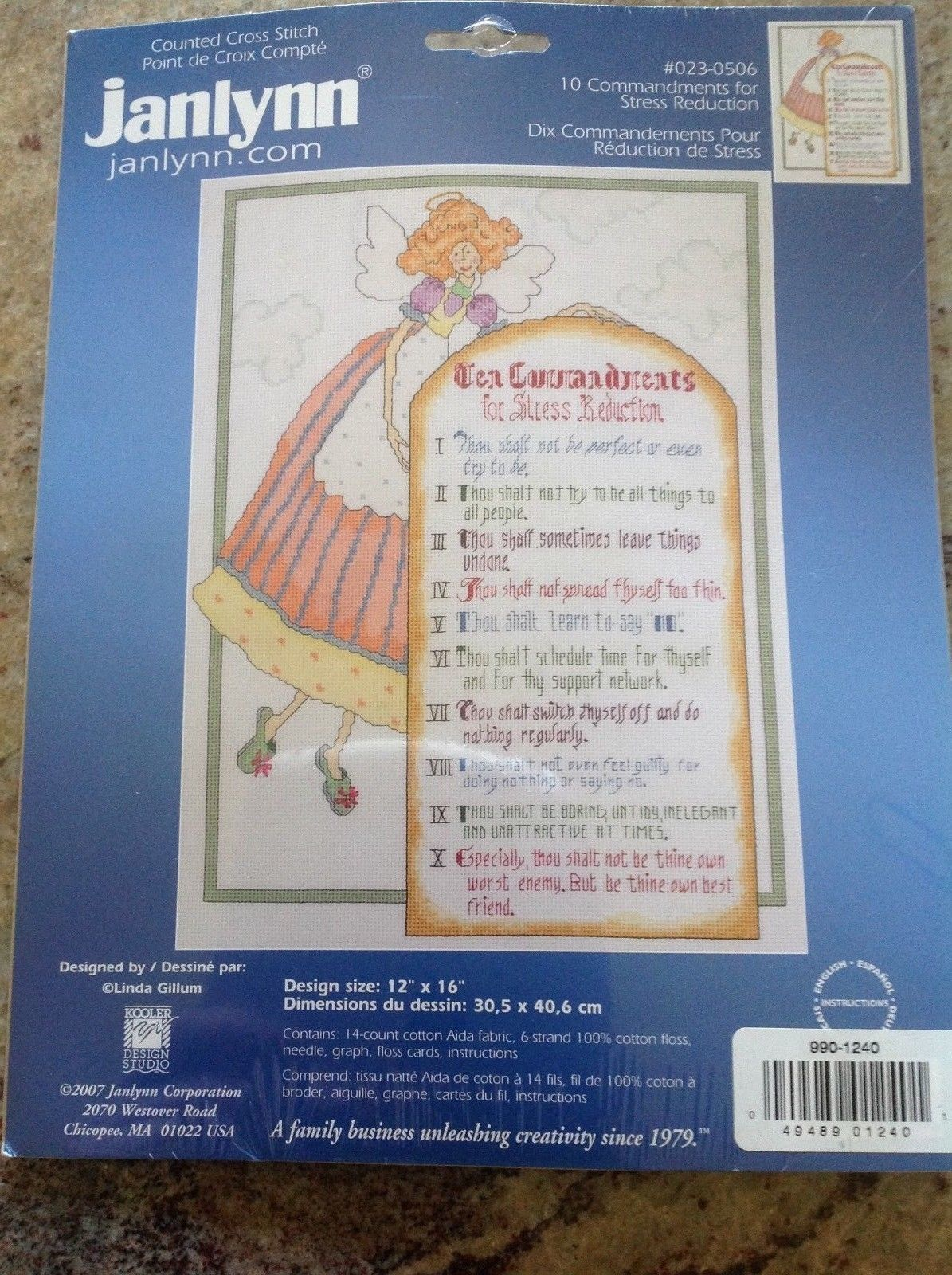 """Janlynn Counted Cross Stitch Kit """"10 Commandments for Stress Reduction""""  12""""X16"""""""