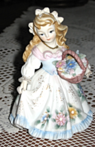 Lefton-Girl With Flower Basket-Figurine-Hand painted-Japan - $18.50