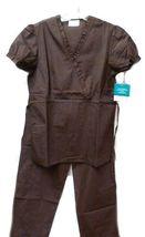 Brown Scrub Set XL V Neck Top Drawstring Pants Women's Medical Uniforms #616/701 image 11
