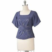 Women Girl Floral Crochet Open Work Sweater Knitted Top Dolman Blouse XS... - $25.99