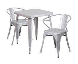 Flash Furniture Silver Metal Indoor Outdoor Table Set With 2 Arm Chairs ... - $339.59