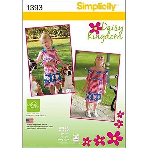 Simplicity Creative Patterns 1393 Toddlers' Dress, Top, Shorts, Bag and Headband - $12.74