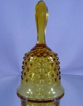 Vintage Fenton Colonial Amber Hobnail Glass Hand Bell c. 1959-1982 Yello... - $9.79